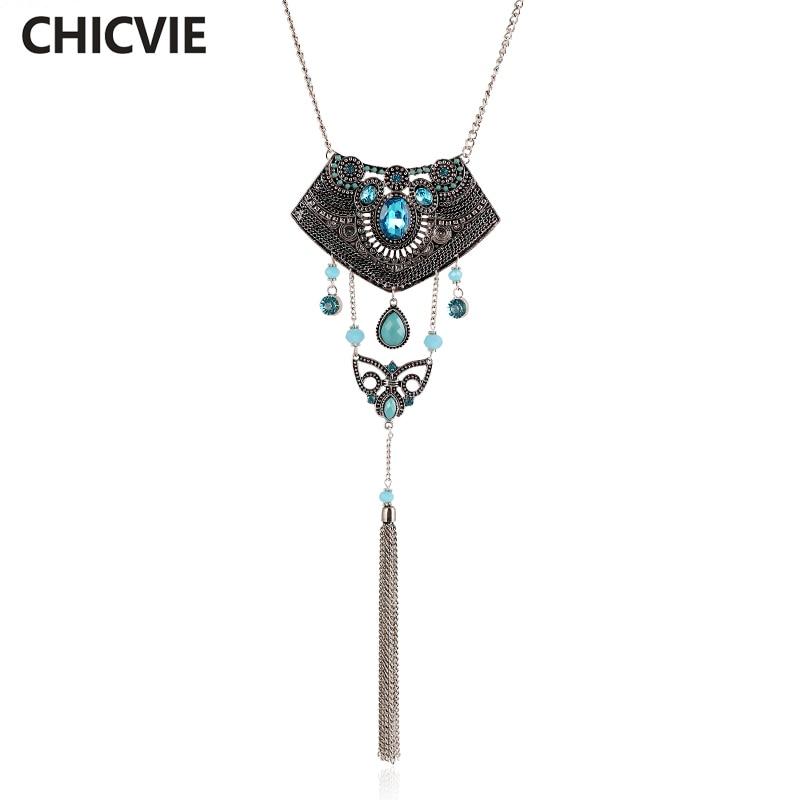 CHICVIE Super Cor Colar de Prata Tibetano Do Vintage Para As Mulheres Contas De Cristal Azul Colar de Jóias Populares SNE160041 Trending