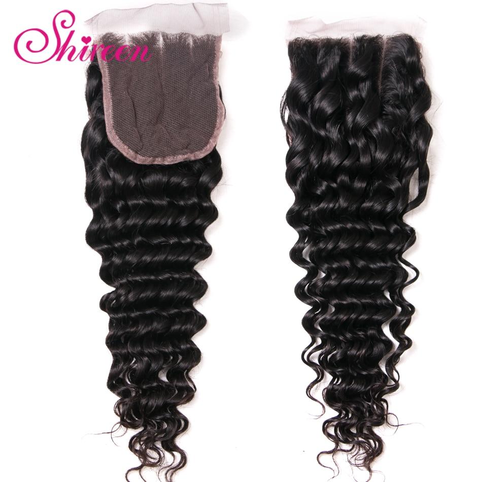Shireen Hair Lace Closure 4*4 Malaysian Deep Wave Closure 10-20inches Remy Human Hair Closure One Piece