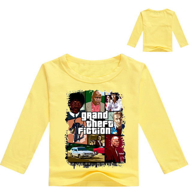 dc1be92b211c3 Z   Y 3-16Years T-shirt Manche Longue Garcon Grand Theft Auto Chemise