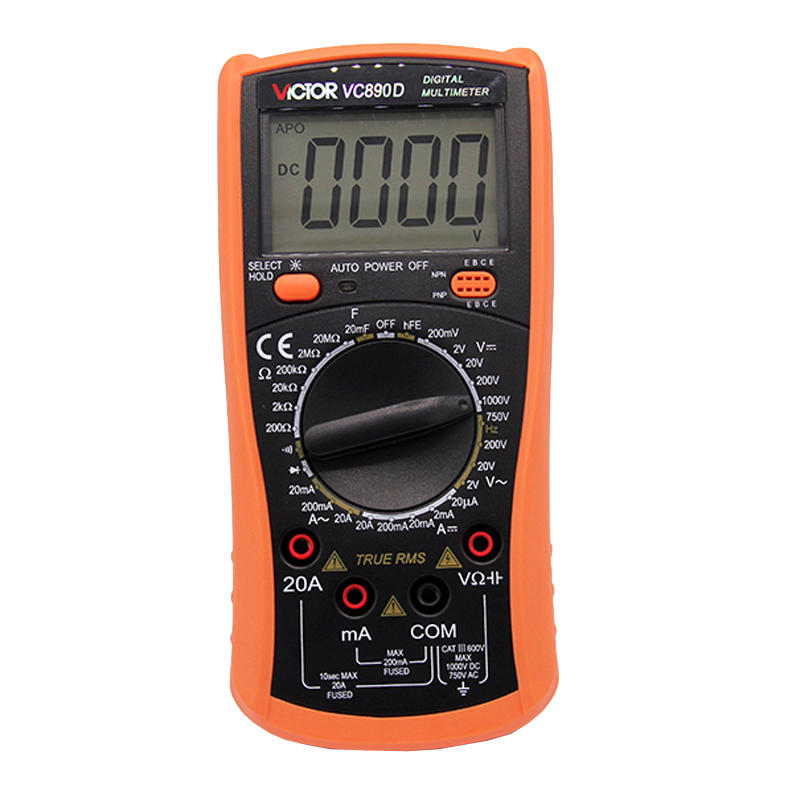 Digital Multimeter/VICI/VC9804A+ 3/4 Auto Range Temperature Test Streamline Design & Large LCD Display digital multimeter victor vc 6056d3 4 auto range temperature test streamline design
