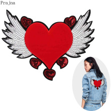 Prajna Fly Wings Red Heart Patch Sewing Embroidered Sequin Patches For Clothes Jacket Fabric Free Angel Jeans Badge
