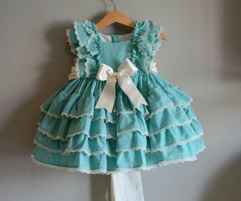 3PCS Boutique Summer Autumn Baby Girl Blue Orange Cotton Vintage Spanish Princess Dress Lace Gown Lolita