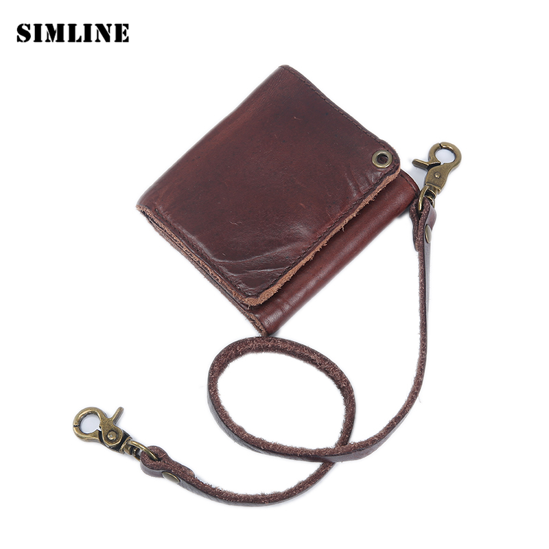 New Vintage Genuine Vegetable Tanned Leather Cowhide Men Short Trifold Wallet Wallets Purse With Leather Rope Zipper Coin Pocket