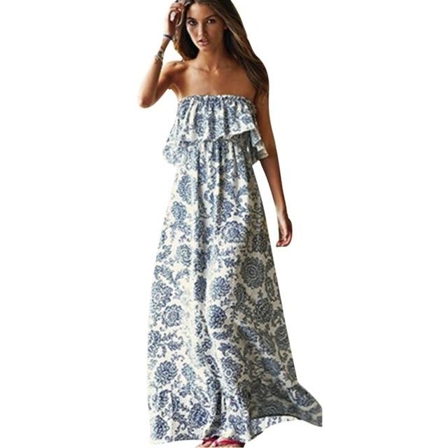 ae83792772 2017 Summer Boho Style Long Dress Women Off Shoulder Beach Summer Dresses  Floral Print Vintage Chiffon White Maxi Dress