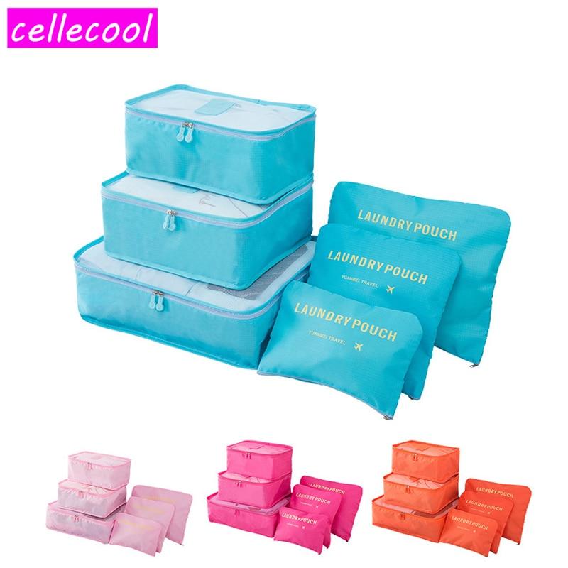 6PCS/Set High Quality Organizer Packing Cube Organiser for Clothing Oxford Cloth Travel Bag luggage travel bags luggage bag