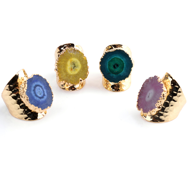 Bojiu Natural Druzy Stone Ring Electroplated Candy Gold-color Adjustable Size New Jewelry Rings For Women Festival Gifts RI024