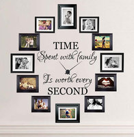 Time Spent with Family is Worth Every Second Lettering Wall Stickers Family Quotes Wall Decals Living Room Vinyl Wall Decor 604Q