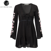 Lily Rosie Girl Black Lace Up Women Sexy Dresses Long Flare Sleeve Embroidery Mini Dress 2018