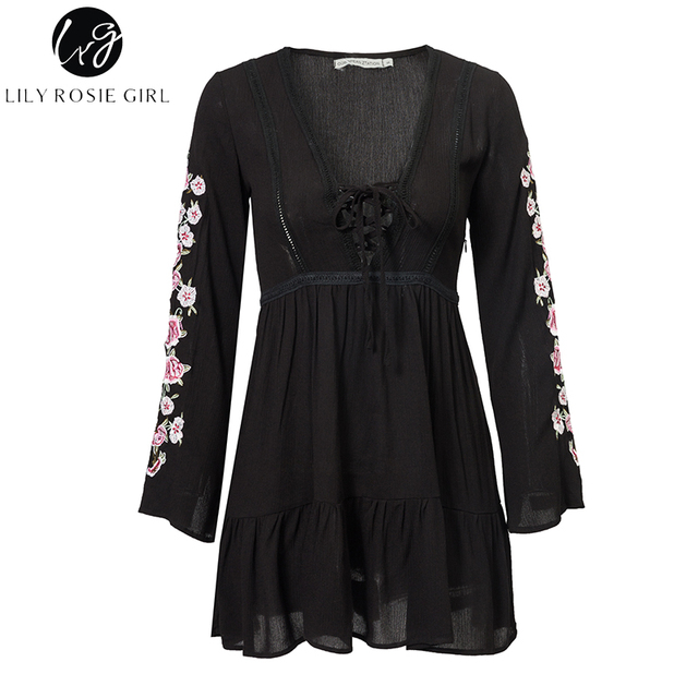 Lily Rosie Girl Black Lace Up Women Sexy Dresses Long Flare Sleeve