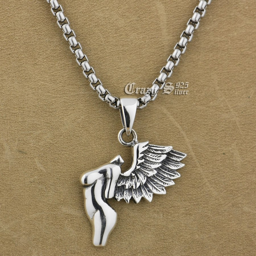 925 Sterling Silver Naked Wing Angel Fashion Pendant 9S016A Steel Necklace 24925 Sterling Silver Naked Wing Angel Fashion Pendant 9S016A Steel Necklace 24