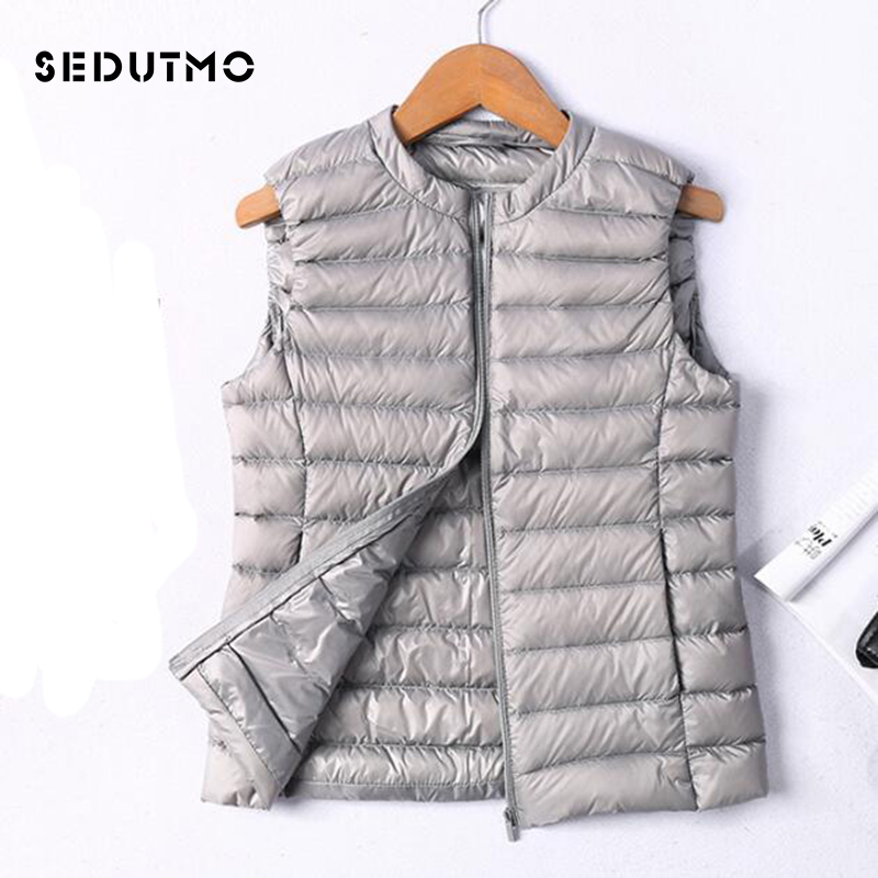 SEDUTMO Winter Ultra Light  Womens Down Jackets Plus Size 3XL Vest Duck Down Doat Short Puffer Jacket O-neck Waistcoat ED036