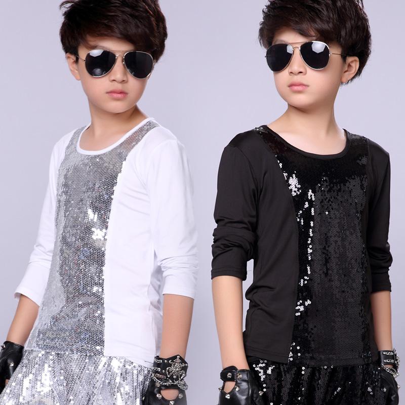 Jazz Costumes Boys Sequined Long Sleeve Round Neck Top Kids Hip Hop Clothing Boy Street Dancing Wear Children Stage Show DN2963