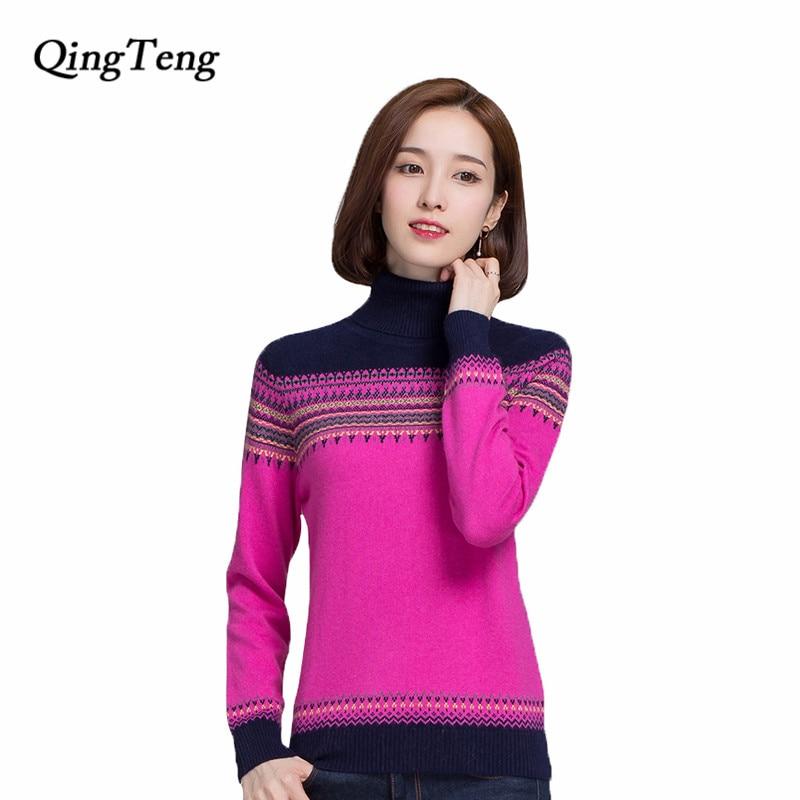 QingTeng 2017 Pure Cashmere Sweater Women Winter Casual Long ...