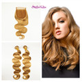 Stella Reina #27 Honey Blonde Lace Closure With 2 Bundles Hair Weave Body Wave Malaysia 100% Human Remy Hair Extension