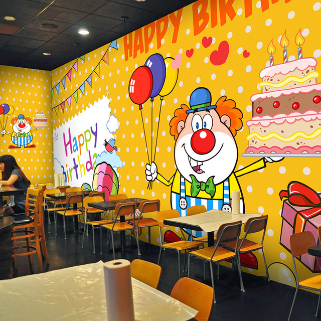 custom mural Cartoon Birthday Party Cake wall painting childrens