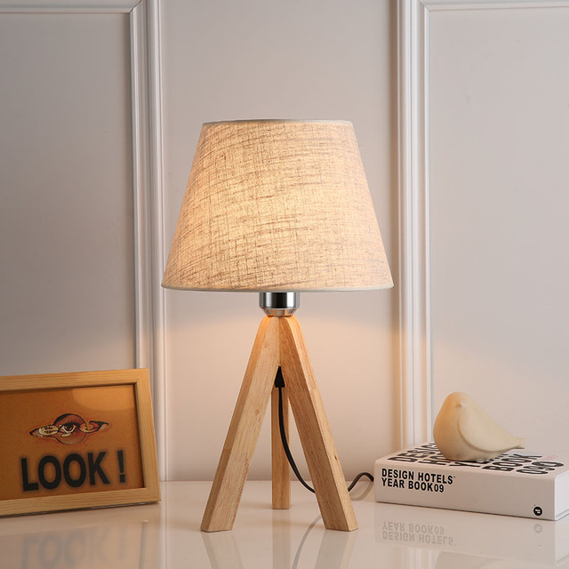 Lampara Modern Table Lamp Wood And Fabric Bedroom Bedside Lighting Reading Lampe Decorative Lights Lamps For Living Room
