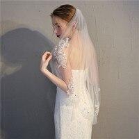 U-SWEAR 2018 Лидер продаж Для женщин фаты с расческой Кружева Аппликации Край нажатием Длина фату для свадебное платье 90*150 см