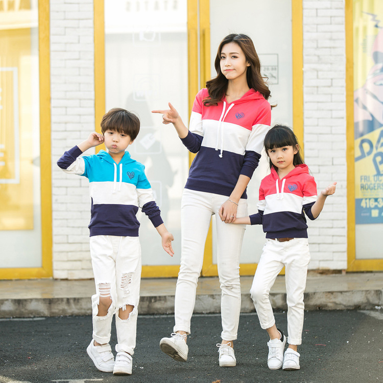 Soft parent child spring clothing new casual family three cotton mosaic hooded couple sweater sweater color home clothes in Matching Family Outfits from Mother Kids