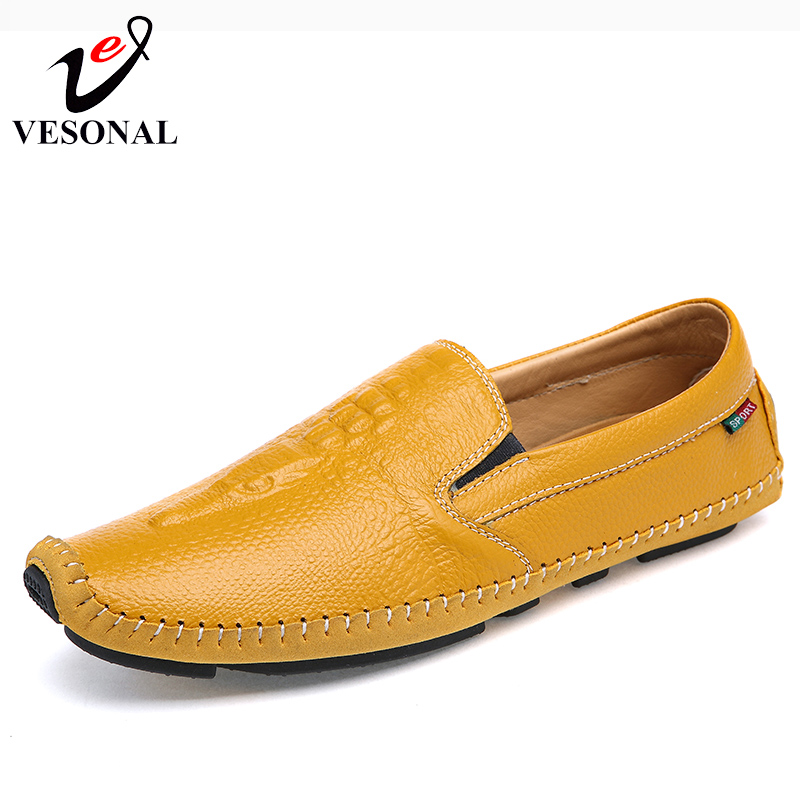 VESONAL Brand Quality Crocodile Leathe Male Shoes Loafers For Men Driving Flats Spring Summer Soft Light Slip On Footwear Boat vesonal 2017 quality mocassin male brand genuine leather casual shoes men loafers breathable ons soft walking boat man footwear