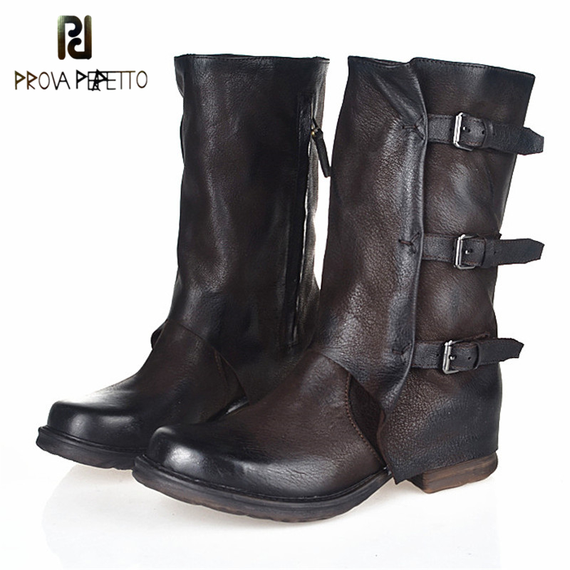 Prova Perfetto Sheep Genuine Leather Do Old Mid Boots Belt Buckle Zipper-side Woman Boots Neutral Motrocycle Shoes Square Toe prova perfetto genuine leather mixed metal decoration mid calf boots square toe thick heel buckle belt retro matrin boots women