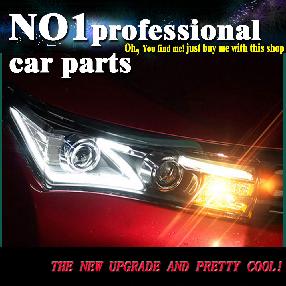 Car styling 2014 2015 for toyota corolla headlights led head lamp drl front bi xenon