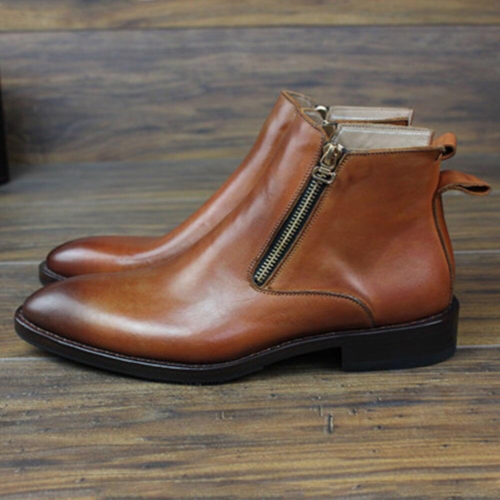 SIPRIKS italien double fermeture éclair bottes hommes couture welt chaussures bout pointu bottes en cuir de veau rétro fête bottines patine chaussures de plein air - 3