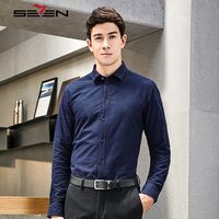 Seven7 Vintage Casual Long Sleeve Shirts Men Embroidery Collar 100 Cotton Blouse Shirt New Fashion Luxury