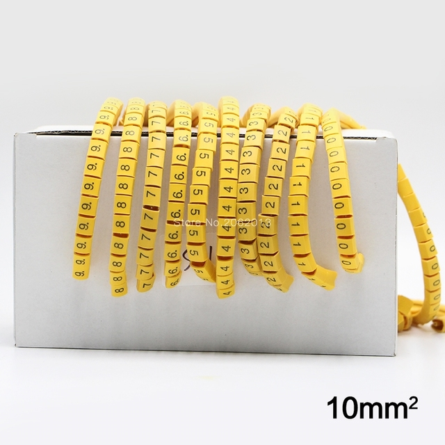 10 Rolls/Lot 10mm Square Wire Cable Marker Cable Sleeve PVC Number ...