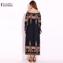 ZANZEA Floral Print Maxi Dress 2018 Off Shoulder Beach Summer Dress Sexy Split Long Party Dresses Vestidos Plus Size 5XL