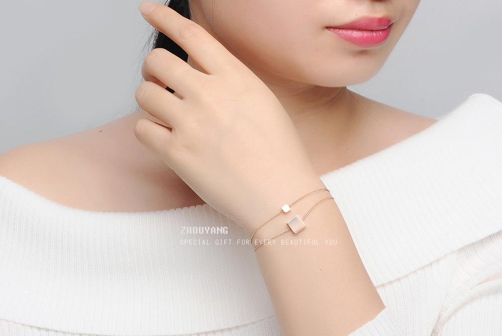 Armbänder & Armreifen Schmuck & Zubehör Zhouyang Top Qualität Dame Stil Herz Liebe Rose Gold Farbe Mode Armband Großhandel Zyh223