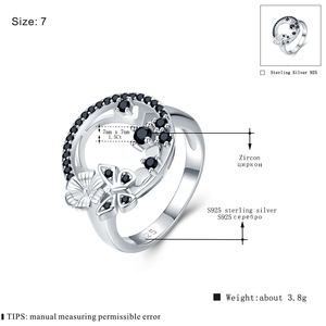 Image 4 - Cute 3.8g 925 Sterling Silver Fine Jewelry Baguet Row Engagement Black Spinel Butterfl Engagement Rings for Women G027