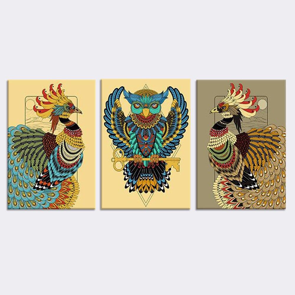 Toko line Hewan Abstrak Kanvas Lukisan Mewarnai Gambar Burung Wall