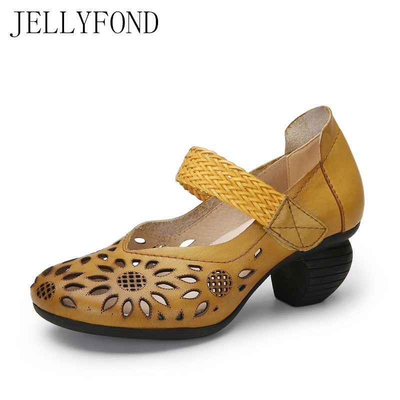 Vintage Style Real Leather Women Gladiator Sandals 2018 Original Designer Cowhide Floral Cuts Out High Heels Summer Shoes Woman original vintage style