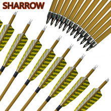 6/12Pcs 30 Carbon Arrows SP 500 Wooden Skin Shaft 4 Feather Replaceable Broadheads Tips Training Shooting Archery Accessories