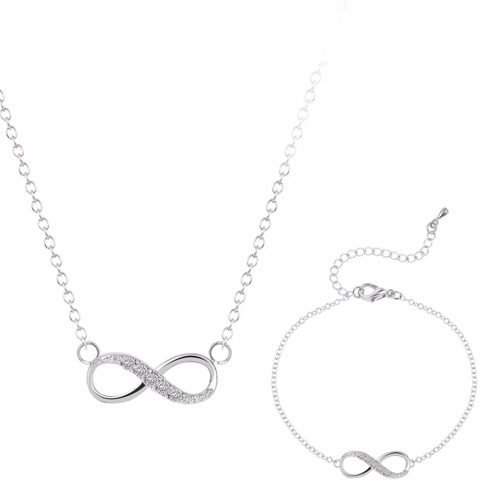 Kinitial 2pcs New Infinity Cross Crystal Dangle Bracelet Necklace Sets Bridal Wedding Party Jewelry Set Pendientes Mujer Bijoux