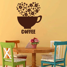 Coffee Cup Beans Kitchen Cafeteria Cafe Wall Sticker Vinyl Home Decor Decals Removable Mural House Window Wallpaper 3304