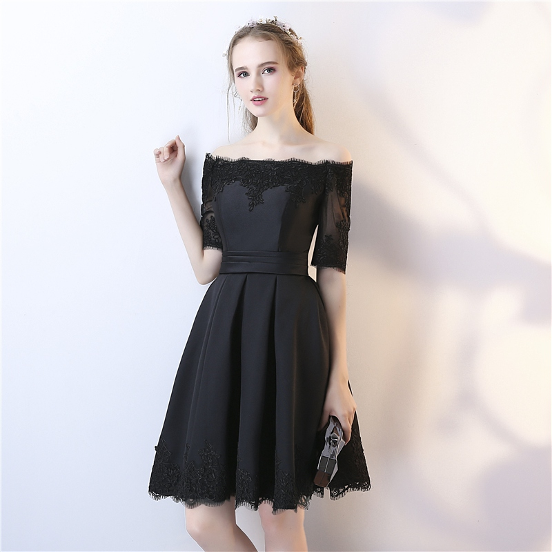 Symbol Of The Brand Socci Little Black Dress 2019 New Simple V Neck Back Half Sleeves Cocktail Dresses Above Knee Elegant Formal Prom Party Gowns Weddings & Events