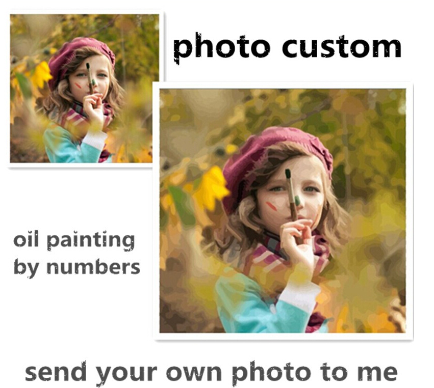 Photo custom make your own diy digital oil painting by numbers picture drawing on canvas portrait wedding family photos