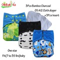 Ohbabyka fraldas de bolso de pano 3 pcs fralda + 3 pcs inserções de microfibra material absorvente forte ajustável agradável presente do chuveiro de bebê