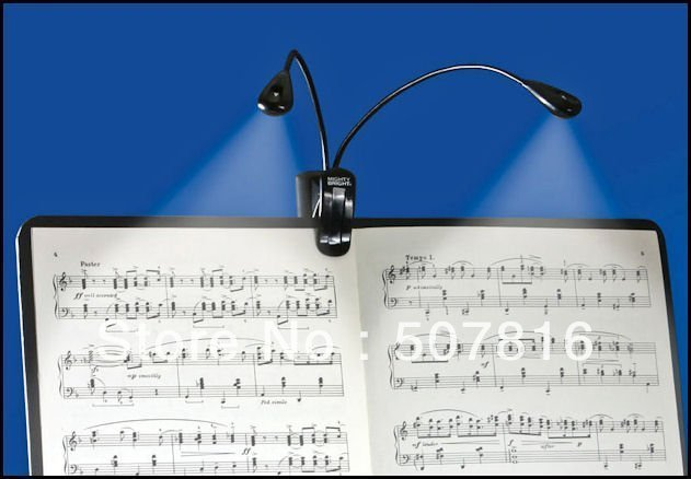 Special Offer ! 2pcs Super 2 Dual Arm Flexible Book Music Stand Lamp White LED Light Free shipping