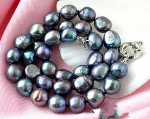 Envío Gratis> @> N3760 negro 9-10mm Keshi Keishi barroco collar de perlas de agua dulce