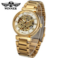 WINNER Men Brand Gold Roman Numbers Skeleton Stainless Steel Watch Automatic Mechanical Wristwatch Gift Box Relogio Releges 2016
