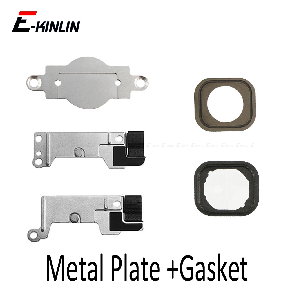 2set New Home Button Metal Holder Bracket Plate For IPhone 5 5S SE 5C 6 6S 7 8 Plus With Rubber Gasket Replacement Fix Part