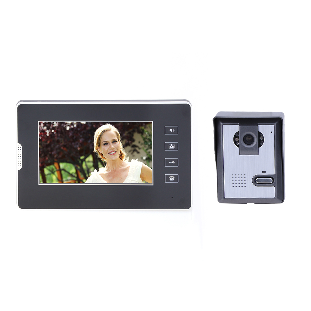 7 Inch Colour TFT-LCD Monitor Video Door Phone Intercom System Door Release Unlock Doorbell Camera  NG4S hd 7 inch color lcd video door phone intercom system door release unlock 1 doorbell camera 3 white indoor monitor free shipping