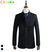 Plus Size S 4XL Thicken Men Brand Woolen Coat Autumn Winter Jacket Long Fashion Male Coat
