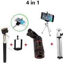 4in1 8X Telephoto Mobile Phone Telescope Lens Fisheye Wide Angle Macro lenses fish eye Flexible Tripod For iphone Samsung Asus