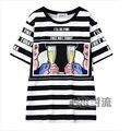 2016 Summer Fashion Harajuku Letras T camisa Colheita Das Mulheres Dos Desenhos Animados Neve Top Listra Branca t-shirt Top de Manga Curta Tamanho Grande 1522
