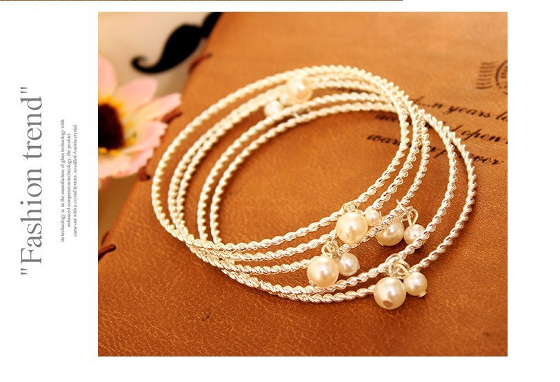 Vintage font b Jewelry b font Simulated Pearls Round Bangles Sets For Women Party Accessories Gifts