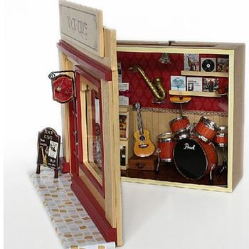 2018 HEIßER Rock Zeit Miniatur Modell Puppenhaus 3D Montieren Spielzeug Mit Funitures Gebäude Kits Für Kinder Oder Erwachsene Kreative Geschenke