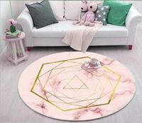 Luxury Round 3D Carpets Nordic Marbled Pattern Rugs Fashion Design Living Room Carpet Bedroom Door Mat Custom Spring summer 6mm